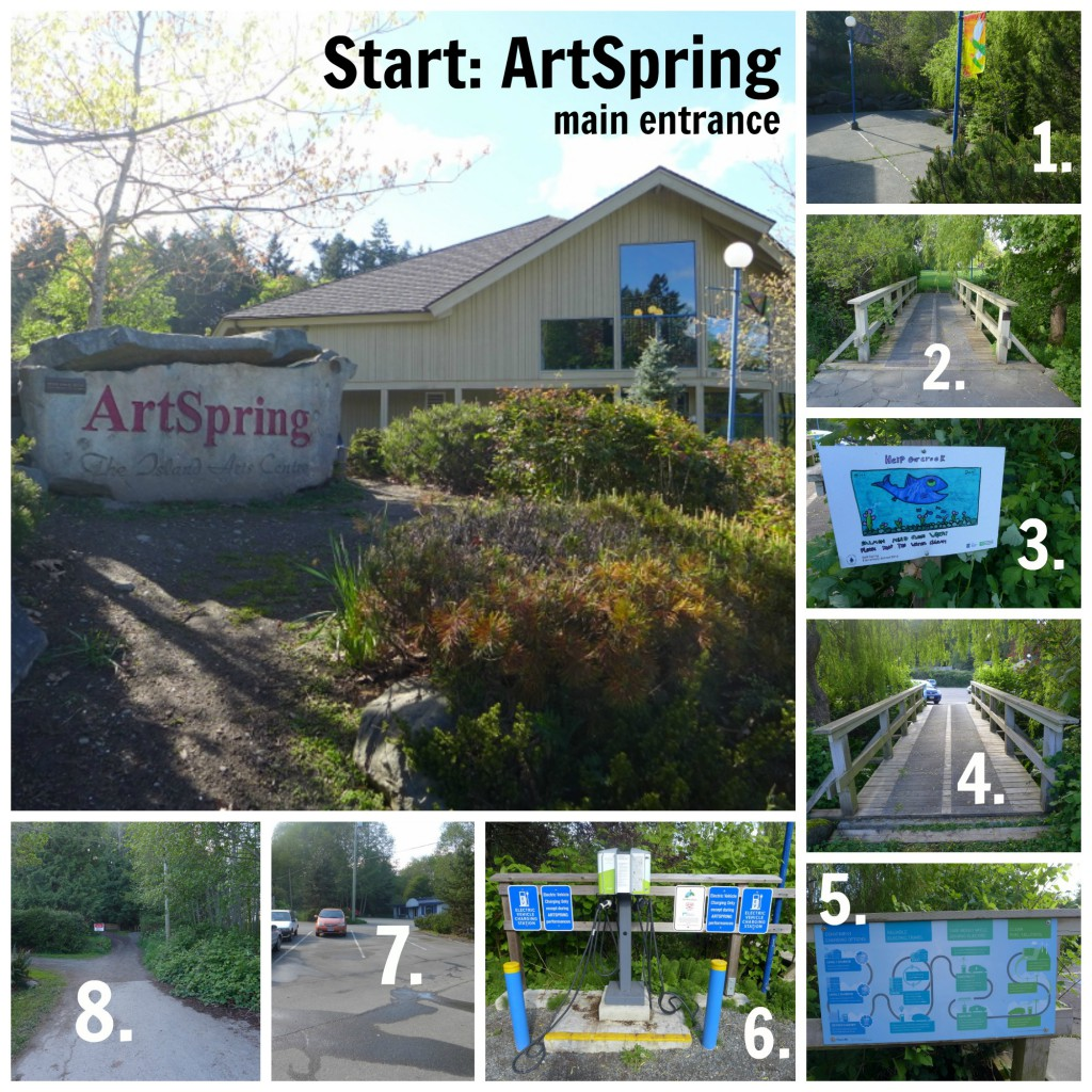 1 thru 8, a guide from Art Spring to the entrance of the park.
