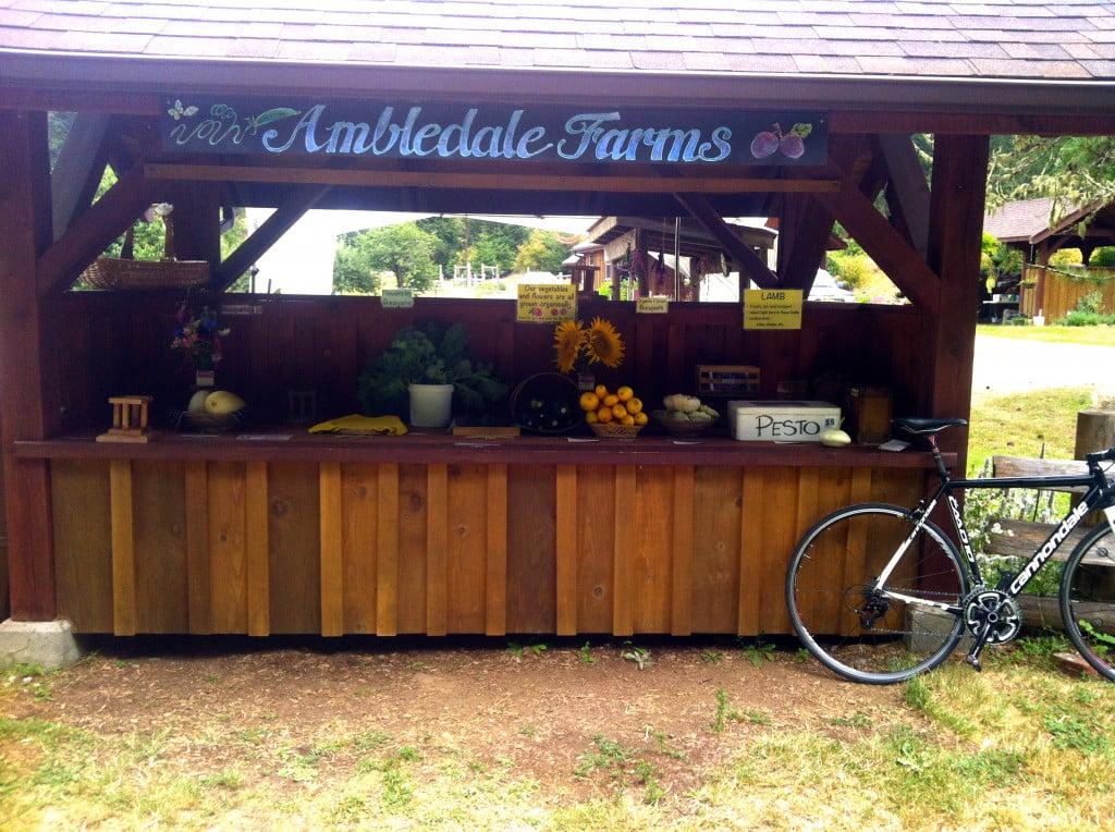 Pesto anyone? This farm stand has it all. Veggies, flowers and even pesto!
